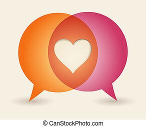 概念, 愛, バックグラウンド。, スピーチ, 印刷, 泡
