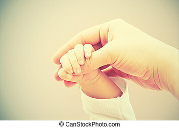 概念, 愛, family., 母, 手, 赤ん坊