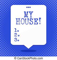 概念, 感じ, テキスト, house., 快適である, top., 打たれる, ブランク, 浮く, 暮らし, スペース, balloon, 料理, 3, 執筆, スピーチ, 白, ビジネス, 睡眠, あなた, 単語, 穴, 場所, 缶, 私