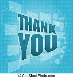 概念, 感謝しなさい, スクリーン, 言葉, デジタル, あなた, 休日