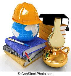 概念, 懸命に, work., render, edication, 革, lamp., 灯油, 世界的である, 卒業, 本, レトロ, 地球, 帽子, メモ, 3d