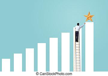 概念, 成功した, 星, はしご, リーチ, の上, 勝利, ビジネスマン, 上昇