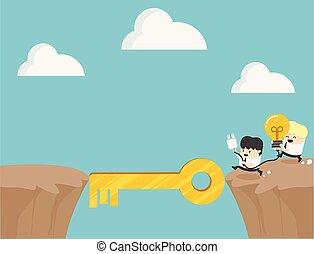 概念, 成功, ビジネス, シンボル, 共同, 野心, 漫画
