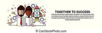 概念, 成功, ビジネス, スペース, 一緒に, チームワーク, チーム, 横, コピー, 旗
