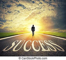 概念, 成功, 成功, 公司, 啟動, way., 步行, 商人, 人