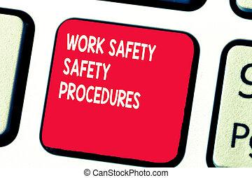 概念, 手の執筆, 提示, 仕事, 安全, 安全, procedures., ビジネス, 写真, テキスト, 方法, へ, minimize, 危険, そして, 事故