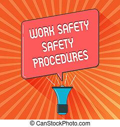 概念, 手の執筆, 提示, 仕事, 安全, 安全, procedures., ビジネス, 写真, showcasing, 方法, へ, minimize, 危険, そして, 事故