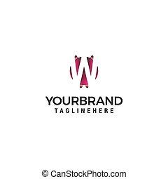 概念, 手紙, 形, デザイン, w, ロゴ, 円, テンプレート