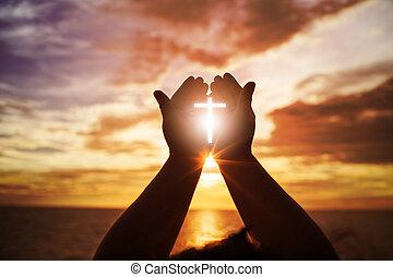 概念, 手, 心, やし, 人間, 開いた, カトリック教, バックグラウンド。, 神, repent, pray.,...