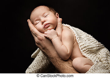 概念, 手, 父, 睡眠, 新生, 生まれる, 親, 子供, 赤ん坊, 新しい, 心配, 手, 人