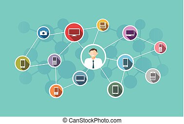 概念, 技術, ネットワーク, ビジネス, illustration.