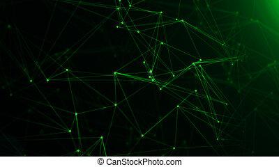 概念, 技術, バックグラウンド。, 接続される, ノード, ネットワーク