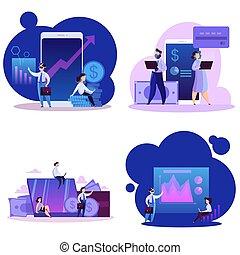 概念, 技術, 事務, set., 現代, 實際上, 網際網路