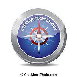 概念, 技術, 創造的, 印, コンパス