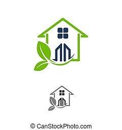 概念, 技術, 家, 住宅, 自然, 表す, グラフィック, 支持できる, 保存, eco, アイコン, 緑, また, 使うこと, vector., -, 作られた, これ, 葉, 開発, ∥など∥