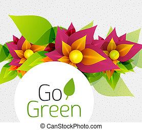概念, 抽象的, 花, 緑, 行きなさい, design.
