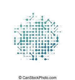 概念, 抽象的, 隔離された, イラスト, circle., バックグラウンド。, 接続, ベクトル, model., イメージ, nanotechnology, 分子, 白, 構造, 株