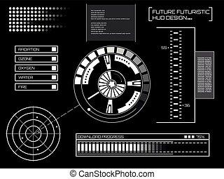 概念, 抽象的, techno, 感触, デザイン, 青, hud., 隔離された, 事実上, 背景, 未来, オンラインで, 黒, 網, ui., アプリケーション, gui, ユーザインタフェース, ビジネス, グラフィック, モビール, サイト, ベクトル, 未来派