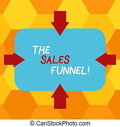 概念, 指すこと, プロセス, テキスト, photo., 販売, 4, 形, によって, ブランク, リード, 内部, 執筆, 会社, 顧客, 意味, refers, 側, 購入, funnel., 矢, 長方形, 手書き