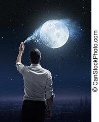 概念, 振りかけること, 人, 肖像画, 月