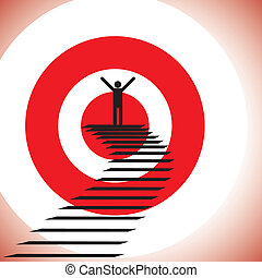 概念, 插圖, ......的, a, 人, 到達, 目標, 以及, 贏得, a, challenge., the,...