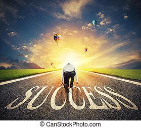 概念, 操業, 成功, 成功した, 会社, 始動, way., 準備ができた, ビジネスマン, 人