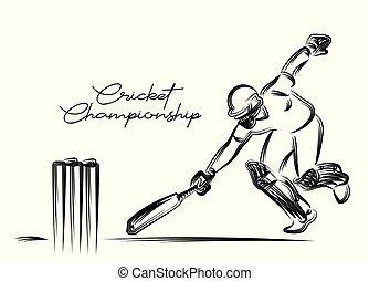 概念, 操業, illustration., ), (, cricket-, batsman, -, 窓口, 動くこと, ベクトル, デザイン, 選手権, ∥間に∥, 芸術, 線, から, 遊び, クリケット競技者