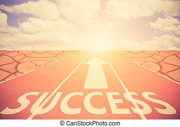 概念, 操業, success., 成功, トラック, シンボル, 印, 色, success.vintage