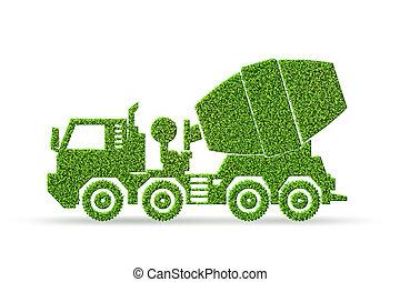 概念, -, 放出, レンダリング, 緑, 低い, 車, electic, 3d