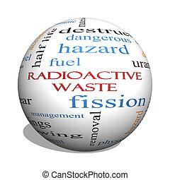 概念, 放射性, 球, 単語, 無駄, 雲, 3d