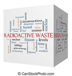 概念, 放射性, 立方体, 単語, 無駄, 雲, 3d