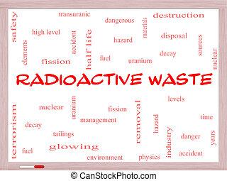 概念, 放射性, whiteboard, 単語, 無駄, 雲
