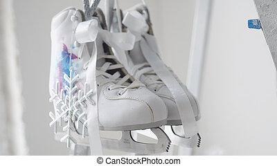 概念, 数字, silvver, スケート, 掛かる, 雪片, 白, 年, 対, 新しい, 飾られる, クリスマス, ...