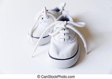 概念, 新生, sneakers., 母性, 赤ん坊, 白
