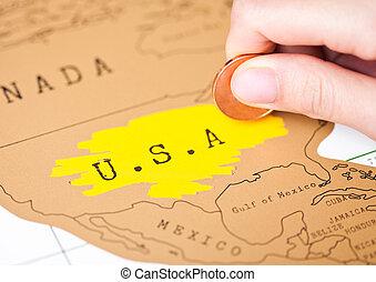 概念, 旅行, コイン, 手, アメリカ, 休日