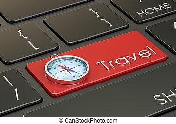 概念, 旅行, レンダリング, コンパス, keyboard., 3d