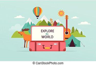 概念, 旅遊業, 旅行, 插圖, 矢量, 設計, suitcase., 打開