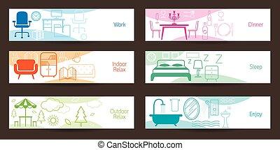 概念, 旗, 家具