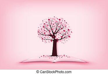 概念, 日, style., 切口, 愛, 形, ペーパー心, art., バレンタイン, 葉, 木, 成長する, 技能, 本, イラスト, デジタル, 開いた
