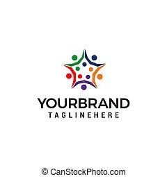 概念, 星, 人々, ベクトル, デザイン, テンプレート, busines, ロゴ