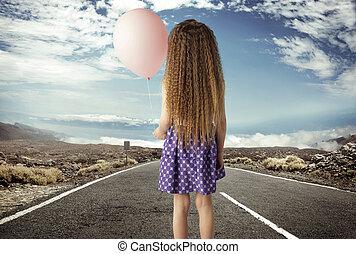 概念, 映像, 女の子, ballon