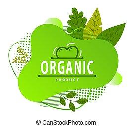 概念, 有機体である, 緑, アイコン, 点, きずもの, logo., 平ら, 形。, 白, 葉, プロダクト, 円