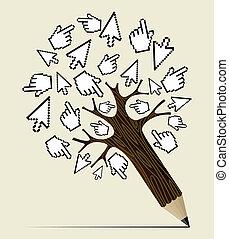 概念, 木, インターネット, 活動