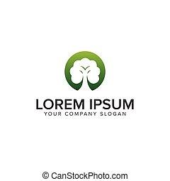 概念, 木, デザイン, テンプレート, ロゴ, 緑
