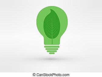 概念, 木, 成長する, 緑, 行きなさい, 電球