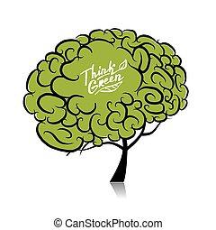 概念, 木, 考えなさい, 脳, デザイン, green., あなたの