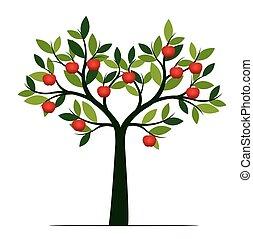 概念, 木, pictogram., バックグラウンド。, ベクトル, イラスト, 白