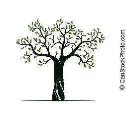 概念, 木, pictogram., ベクトル, イラスト, 背景, roots., 白