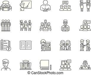 概念, 板, セット, アイコン, イラスト, ベクトル, 検査, 線, サイン, アウトライン