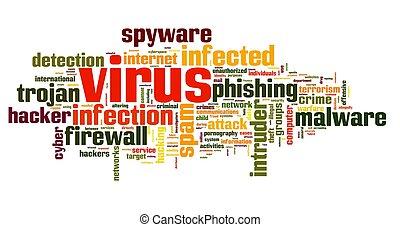 概念, 標簽,  spyware, 雲